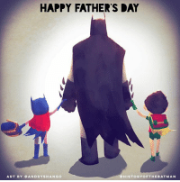 """Batman, Fathers Day, and Instagram: HAPPY FATHER'S DAY  ART BY OANDRYSHA NGO  HIS TO RYO FTHEBAT MAN Good Knight Gothamites and Happy Father's Day! Tomorrow we'll wrap up our Wonder Woman session and also celebrate Thomas Wayne, Alfred Pennyworth and other father figures within the Batman mythology! I leave you tonight with a now fan favorite piece called """"Batdad"""" by illustrator Andry Rajoelina @andryshango! SWIPE to see the Justice League Families series and visit @andryshango's websites at elshangowuzhere.blogspot.com- and andry-shango.deviantart.com for more of their awesome art! As always, thanks for following and all the constant support on and off of Instagram, it is greatly appreciated! Have a great night and we will have more History of the Batman tomorrow. Remember Gothamites, it's all about Peace, Love and Batman! ✌🏼💙🦇🎨"""