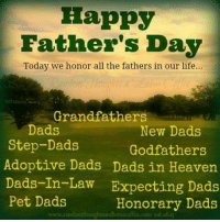 In all fathers.: Happy  Father's Day  Today we honor all the fathers in our life...  Grandfathers  Dads  New Dads  Step-Dads  Godfathers  Adoptive Dads Dads in Heaven  Dads-In-Law Expecting Dads  Pet Dads  Honorary Dads  www.randoondioughtandot acoffee con os In all fathers.