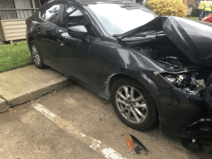 Happy Friday the 13th. Luckily I was in my apartment when someone backed into my car and sent it over the sidewalk.: Happy Friday the 13th. Luckily I was in my apartment when someone backed into my car and sent it over the sidewalk.