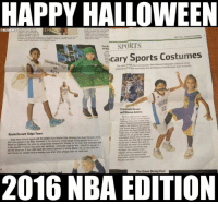 Newspaper takes shot at Kevin Durant, Draymond Green: bit.ly/NBAHalloween: HAPPY HALLOWEEN  ONBAAMEMES  SPORTS  The Gr  the  cary Sports Costumes  CHAMProNSH  The Wall Sreet Journalprovises last-minute Halloween year in sports  inspired by low momentsandantheroes trom the past and Steven Adams  S25000 for  Kevin Durant Skips Town  Since Kevin Durant soned with the Golden State Warmos omseason his Kersey has been amon  amet that your did wil be miuttatta  ficted on Oklahoma Cty when he unexpectedy dumped the Thunder for the team that elminated ten  part af Adams But dont un  destinate the power of  in the playoffs A dissik bobo stick with bandanna-preferably made by Nir-shoold be enoughto  set the departure your chas takes the method approach to acting though she can also dt  ted about that  best friends for a better tric ortreating aew when shes urbappy with her candy hai  hepood candy because they  caning tom Daymond  they ave  The Green Diving Pool  2016 NBA EDITION Newspaper takes shot at Kevin Durant, Draymond Green: bit.ly/NBAHalloween