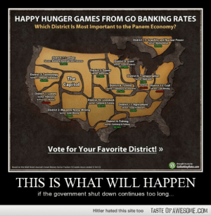 This Is What Will Happenhttp://omg-humor.tumblr.com: HAPPY HUNGER GAMES FROM GO BANKING RATES  Which District Is Most Important to the Panem Economy?  District 13: Graphite and Nuclear Power  Sector: Multiutities  District 7:Lumber  Sector: Building Materialh and Pature  District 9: Grain  Sector. Food Products  12.91  District S: Power  Sector: Electricity  District 3:Technology  Sector Computer Hardware  District 6: Transportation  Sector: Railroads  The  Capitol  District 8: Textiles  Sector: ClothingAccessories  Alilines District 12: Coal  0 Sector Coal Mining  District 1: Luxury  Sector: Platinum  & Precious Metals  District 10: Livestock  Sector. Farming AFihing  TR15  District 11: Agriculture  Sector: Food Producers  District 2: Masonry/Stone Mining  Sector: Gold Mining  PABS  District 4: Fishing  Sector Farming & Fishing  18.15  Vote for Your Favorite District! »  Brought to you by  GoBankingRates.com  Based on the Wall Street Journal's Smart Money Sector Tracker (52-week retum ended 3/14/121  THIS IS WHAT WILL HAPPEN  if the government shut down continues too long...  TASTE OF AWESOME.COM  Hitler hated this site too This Is What Will Happenhttp://omg-humor.tumblr.com