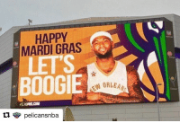Sports, Mardi Gras, and Perfect Timing: HAPPY  MARDI GRAS  BOOGIE  PERCANSCOM Perfect time to start a new era in NOLA 🎉 (via @pelicansnba)