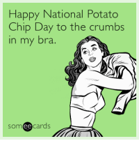 """<p><a href=""""http://memehumor.tumblr.com/post/158410185243/happy-national-potato-chip-day-to-the-crumbs-in-my"""" class=""""tumblr_blog"""">memehumor</a>:</p>  <blockquote><p>Happy National Potato Chip Day to the crumbs in my bra.</p></blockquote>: Happy National Potato  Chip Day to the crumbs  in my bra.  someecards <p><a href=""""http://memehumor.tumblr.com/post/158410185243/happy-national-potato-chip-day-to-the-crumbs-in-my"""" class=""""tumblr_blog"""">memehumor</a>:</p>  <blockquote><p>Happy National Potato Chip Day to the crumbs in my bra.</p></blockquote>"""