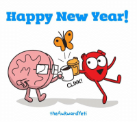 Happy new year from Heart and Brain!: Happy New Year!  CLI  theAwkwardyeti Happy new year from Heart and Brain!