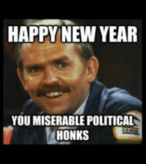 100+ Happy New Year Memes - Funny Memes for All: HAPPY NEW YEAR  YOU MISERABLE POLITICAL  HONKS 100+ Happy New Year Memes - Funny Memes for All