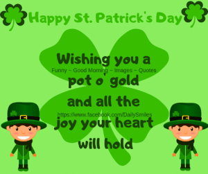 🍀Happy St. Patrick's Day🍀: Happy St. Patrick's Day  Wishing you a  pot o gold  Funny - Good Morning-Images-Quotes  and all the  https:/www.facebook.com/DailySmiles  joy your heart  will hold 🍀Happy St. Patrick's Day🍀