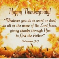 """Happy thanksgiving everyone 🦃 Don't forget to eat lots of Turkey 🦃 🦃🦃🦃🦃🦃🦃🦃🦃🦃🦃🦃🦃 thanksgiving thankful turkyday🦃 Comment down below what you are thankful for ❤🦃❤️: Happy Thanksgiving  """"Whatever you do in word or deed,  do all in the name of the Lord Jesus,  giving thanks through Him  to God the father.  Colossians 3:17 Happy thanksgiving everyone 🦃 Don't forget to eat lots of Turkey 🦃 🦃🦃🦃🦃🦃🦃🦃🦃🦃🦃🦃🦃 thanksgiving thankful turkyday🦃 Comment down below what you are thankful for ❤🦃❤️"""