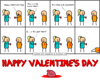 Happy Valentine's Day! I'm drawing more character art for my game on stream today. Wanna be a character?  [🔵LIVE] 👉 http://www.twitch.tv/MattMelvin: Happy Valentine's Day  This is a real  human heart  It's filled with chocolate!  Is... is this your heart?  Cyanide and Happiness O Explosm.net  MARY VALENTINES DAY Happy Valentine's Day! I'm drawing more character art for my game on stream today. Wanna be a character?  [🔵LIVE] 👉 http://www.twitch.tv/MattMelvin