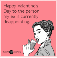 "Tumblr, Valentine's Day, and Blog: Happy Valentine's  Day to the person  my ex is currently  disappointing  someecards <p><a href=""http://memehumor.tumblr.com/post/157237077770/happy-valentines-day-to-the-person-my-ex-is"" class=""tumblr_blog"">memehumor</a>:</p>  <blockquote><p>Happy Valentine's Day to the person my ex is currently disappointing.</p></blockquote>"
