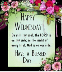Daily Inspiration: HAPPY  WEDNESDAY  Be stil thy soul, the LORD is  on thy side; in the midst of  every trial, God is on our side.  HAVE A BLESSED  DAY Daily Inspiration