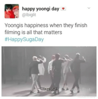 Bts, Cutting, and Happyness: happy yoongi day  @lbiglit  Yoongis happiness when they finish  filming is all that matters  Happy SugaDay  Okay Cut! happy 25th (24th) birthday to this angel 💟💞