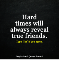 "<3: Hard  times will  always reveal  true friends.  Type ""Yes"" if you agree.  Inspirational Quotes Journal <3"