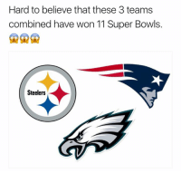 Memes, Nfl, and Steelers: Hard to believe that these 3 teams  combined have won 11 Super Bowls.  Steelers LIKE Our Page NFL Memes!