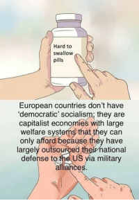 (LC): Hard to  swallow  pills  European countries don't have  'democratic' socialism; they are  capitalist economies with large  welfare systems that they can  only afford because they have  largely outsourced  defense tothe US yia military  theirnational  ance (LC)