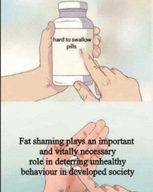 It's true: hard to swallow  pills  Fat shaming plays an important  and vitallý necessary  role in deterring unhealthy  behaviour in developed society It's true