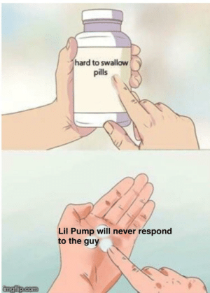 Sorry, Break, and Never: hard to swallow  pills  Lil Pump will never respond  to the guy  imgfip.com Sorry to break the ice