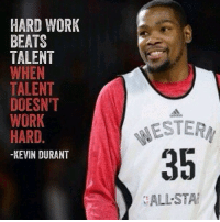 What basketball player do you look up to and why? 🤔 motivation: HARD WORK  BEATS  TALENT  WHEN  TALENT  DOESN'T  WORK  HARD.  -KEVIN DURANT  ESTERM  35  ALL-STA What basketball player do you look up to and why? 🤔 motivation