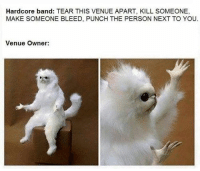 Funny, Memes, and Boredom: Hardcore band: TEAR THIS VENUE APART, KILL SOMEONE,  MAKE SOMEONE BLEED, PUNCH THE PERSON NEXT TO YOU  Venue Owner: These memes are effing funny. Ya hear, EFFING FUNNY. #FunnyMemes #RandomMemes #PointlessMemes #Boredom #Procrastination