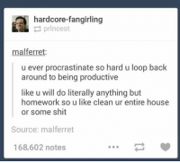 story of my life https://t.co/PXSlVU7Rqf: hardcore-fangirling  prlncest  mal ferret.  u ever procrastinate so hard u loop back  around to being productive  like u will do literally anything but  homework so u like clean ur entire house  or some shit  Source: malferret  168,602 notes story of my life https://t.co/PXSlVU7Rqf