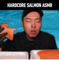 9gag, Memes, and Phone: HARDCORE SALMON ASMR  DICKHUNTER tag ur mates so they have to unlock their phone to see this - By @dick.ht - salmon asmr foodporn 9gag