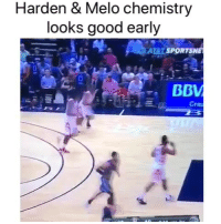Nba, Good, and Chemistry: Harden & Melo chemistry  looks good early  AEIT SPOR  Cre Insane pass. 😂