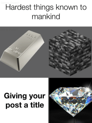 mankind: Hardest things known to  mankind  9199 8  :  FhE  TITANUM  Giving your  post a title