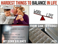 Life, Memes, and Omg: HARDEST THINGS TO BALANCE IN LIFE  MOTHER  I gave birth to you!  WORK  You married me!  FROM SINK TO FRIDGE  Akaun  过账的款项  Baki Untuk  Balance 户头结存Baki Lejar  able Balance同提取结存 Baki yang ada  aft  Had  MY BANK BALANCE OMG THE SINK TO FRIDGE ONE!