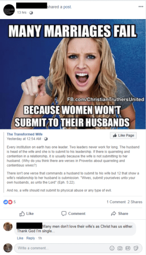 """Fail, God, and Head: hared a post.  13 hrs O  MANY MARRIAGES FAIL  FB.com/ChristiantruthersUnited  BECAUSE WOMEN WON'T  SUBMIT TO THEIR HUSBANDS  The Transformed Wife  Yesterday at 12:54 AM  Like Page  Every institution on earth has one leader. Two leaders never work for long. The husband  is head of the wife and she is to submit to his leadership. If there is quarreling and  contention in a relationship, it is usually because the wife is not submitting to her  husband. (Why do you think there are verses in Proverbs about quarreling and  contentious wives?)  There isn't one verse that commands a husband to submit to his wife but 12 that show a  wife's relationship to her husband is submission. """"Wives, submit yourselves unto your  own husbands, as unto the Lord"""" (Eph. 5:22)  And no, a wife should not submit to physical abuse or any type of evil.  00 5  1 Comment 2 Shares  Like  Comment  Share  Many men don't love their wife's as Christ has us either  Thank God I'm single...  Like Reply 1h  Write a comment... I'd prefer the quarrelsome woman in the photo over your imaginary submissive one"""