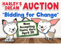 "HARLEYS  DREAM CSILON  ""Bidding for Change""  Now  . *  Accepting ,to  Items thru  April 20 We are now accepting items for our next ONLINE AUCTION. It will take place early in May so there is plenty of time for those of you who plan to craft an item. This auction has a very special focus and all items donated must directly relate to Harley and/or Teddy, dog rescue, or puppy mill awareness. You'll find more information here: www.harleysdream.org/bidding-for-change-accepting-donations As always, we appreciate your ongoing support!  Learn about the auction or donate an item here: www.harleysdream.org/bidding-for-change-accepting-donations"