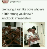 "Books, Fanfiction, and Strong: @harleytae  taehyung: i just like boys who are  a little strong you know?  jungkook, immediately: ""it's.... y-you"",-kth ""Surprise baby"" Taehyung 4 years ago nightma… #fanfiction Fanfiction #amreading #books #wattpad"