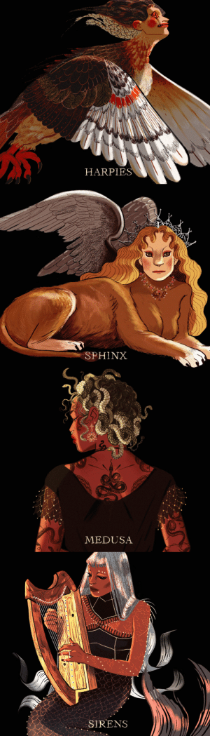 Instagram, Target, and Tumblr: HARPIES   SPHINX   MEDUSA   SIRENS mohtz:   Greek Mythology | Monsters The Goddesses | The Lovers | The Constellations | The Muses  twitter / ig / prints