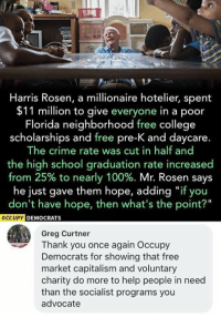 "Anaconda, College, and Crime: Harris Rosen, a millionaire hotelier, spent  $11 million to give everyone in a poor  Florida neighborhood free college  scholarships and free pre-K and daycare.  The crime rate was cut in half and  the high school graduation rate increased  from 25% to nearly 100%. Mr. Rosen says  he just gave them hope, adding ""if you  don't have hope, then what's the point?""  CCUPY DEMOCRATS  Greg Curtner  Thank you once again Occupy  Democrats for showing that free  market capitalism and voluntary  charity do more to help people in need  than the socialist programs you  advocate (GC)"