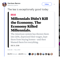 Millennials, American, and Good: Harrison Barron  Followv  harrison_barron  The tea is exceptionally good today  DEAS  Millennials Didn't Kill  the Economy. The  Economy Killed  Millennials.  The American system has thrown them  into debt, depressed their wages, kept  them from buying homes-and then  blamed them for everything.  DEC 6, 2018  6:26 AM-7 Dec 2018  63,373 Retweets 145,374 Likes
