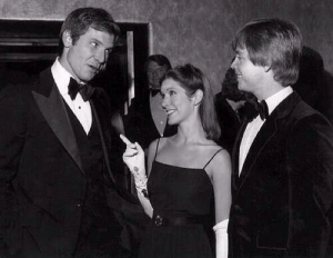 "Harrison Ford, Carrie Fisher, and Mark Hamill at the premiere of ""Star Wars"" in 1977.: Harrison Ford, Carrie Fisher, and Mark Hamill at the premiere of ""Star Wars"" in 1977."