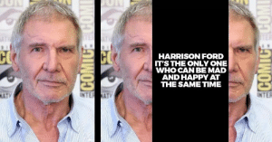 Harrison Ford, Shit, and Ford: HARRISON FORD  IT'S THE ONLY ONE  WHO CAN BE MAD  AND HAPPY AT  THE SAME TIME  NAT The secret to that Shit Eating Grin.
