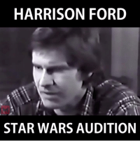 Harrison Ford in his initial screen test for Star Wars: A New Hope (1977): HARRISON FORD  STAR WARS AUDITION Harrison Ford in his initial screen test for Star Wars: A New Hope (1977)