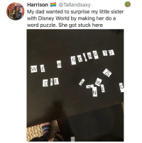 Dad, Disney, and Disney World: Harrison@Tallandsaxy  My dad wanted to surprise my little sister  with Disney World by making her do a  word puzzle. She got stuck here  EIE Post 1855: this is technically true she should probably skip grades for being a genius