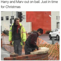 Christmas, Funny, and Time: Harry and Marv out on bail. Just in time  for Christmas  ID It's officially Christmas season... https://t.co/enOFxqSG7U