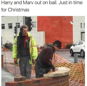 Christmas, Time, and Harry: Harry and Marv out on bail. Just in time  for Christmas Get the Hotwheels Ready