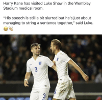 "Savage 😭😂😭 https://t.co/bjRKGlkZW2: Harry Kane has visited Luke Shaw in the Wembley  Stadium medical room  ""His speech is still a bit slurred but he's just about  managing to string a sentence together,"" said Luke. Savage 😭😂😭 https://t.co/bjRKGlkZW2"