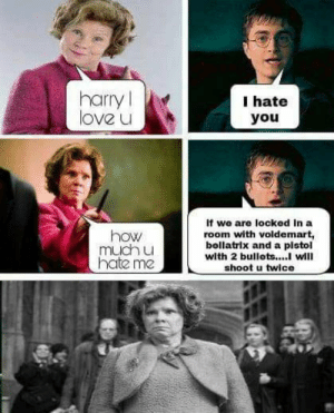 20 Extremely Funny Harry Potter Memes Casting Laughter Spell - Swish Today: harry  love u  I hate  you  If we are locked In a  room with voldemart,  bellatrix and a pistol  with 2 bullets...will  shoot u twice  how  much u  hate me 20 Extremely Funny Harry Potter Memes Casting Laughter Spell - Swish Today