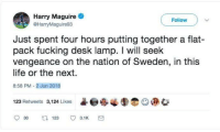 Fucking, Funny, and Life: Harry Maguire  @HarryMaguire93  Follow  Just spent four hours putting together a flat-  pack fucking desk lamp. I will seek  vengeance on the nation of Sweden, in this  life or the next  8:58 PM-2 Jun 2016  123 Retweets 3,124 Likes  @l.  O@安
