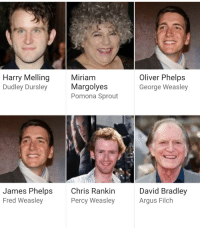 Funny, Google, and James Phelps: Harry Melling  Dudley Dursley  Miriam  Margolyes  Pomona Sprout  Oliver Phelps  George Weasley  James Phelps  Fred Weasley  Chris Rankin  Percy WeasleyArgus Filch  David Bradley Google simply put the same picture for James and Oliver Phelps