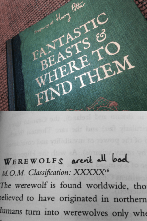 hazelgrace-winchester:  so I'm reading this, and it's annotated by Harry and Ron and I'm crying a little: Harry Pate  Pitr  Property of  FANTASTIC  BEASTS &S  WHERE TO  ΗND TΉEM   bres  WEREWOLFS arerit all bad  M.O.M. Classification: XXXXX6  The werewolf is found worldwide, tho  believed to have originated in northern  Humans turn into werewolves only whe hazelgrace-winchester:  so I'm reading this, and it's annotated by Harry and Ron and I'm crying a little