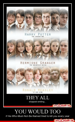 You Would Toohttp://omg-humor.tumblr.com: HARRY POITER  THE CHOSEN ONE  HERMIONEGRANGER  THE BRIGHTEST WITCH  RONALD WEASLEY  IS OUR KING  HPSTUEFS tumble  THEY ALL  stopped smiling..  TASTE OF AWESOME.COM  YOU WOULD TOO  if He-Who-Must-Not-Be-Named tried to kill you every year  TASTE OF AWESOME.COM You Would Toohttp://omg-humor.tumblr.com
