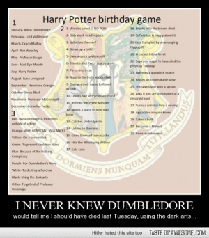 Harry Potter b-day gamehttp://omg-humor.tumblr.com: Harry Potter birthday game  2 1- Worries about U-NO-POO  18- Breaks into the broom shed  January- Albus Dumbledore  2- Gets stuck in a fireplace  19- Suffers but is happy about it  February- Lord Voldemort  3- Splinches themself  20-Gets trampled by a rampaging  March- Draco Malfoy  hippogriff  4- Blows up a toilet  April- Ron Weasley  21- Is cursed into a ferret  5- Uses a quick quotes quill  May- Professor Snape  22- Says you ought to have died the  previous Tuesday  6- Tries to shut Percy in a pyramid  June- Mad-Eye Moody  7- Turns into a cat  July- Harry Potter  23- Referees a quidditch match  8- Reports the truth accidentally  August- Luna Lovegood  24- Makes an Unbreakable Vow  9. Changes their name to Roonil  September- Hermione Granger  25- Threatens you with a sprout  Wazlib  October- Sirius Black  26- Asks if you are the imprint of a  10- Leaves half an eyebrow behind  departed soul  November- Professor McGonagall  11- Informs the Prime Minister  27- Turns a corridor into a swamp  December- Cornelius Fudge  12- Needs a place to hide their  3  28- Apparates on your knees  book  Red- Because magic is forbidden  29- Takes a bath  13- Catches Umbridge-itis  outside of school  30- Becomes a Prefect  Orange- With CONSTANT VIGILANCEI 14- Listens to the news  15- Gives themself a mustache  31- Gives an intervie  Yellow- On a broomstick  16- Hits the Whomping Willow  Green- To prevent cauldron leaks  17- Eats cake  Blue- Because of the Rotfang  DORMIENS NUNQUAM  Conspiracy  Purple- For Dumbledore's Army  White- To destroy a horcrux  Black- Using the dark arts  Other- To get rid of Professor  Umbridge  I NEVER KNEW DUMBLEDORE  would tell me I should have died last Tuesday, using the dark arts...  TASTE OF AWESOME.COM  Hitler hated this site too  TITH LANDUS Harry Potter b-day gamehttp://omg-humor.tumblr.com