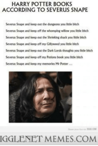 "Bitch, Books, and Harry Potter: HARRY POTTER BOOKS  ACCORDING TO SEVERUS SNAPE  Severus Snape and keep out the dungeons you little bitch  Severus Snape and keep off the whomping wllow you litle bitch  Severus Snape and keep out th麽Shrieking shack you little bitch  Severus Snape and keep off my Gilyweed you litcle bitch  Severus Snape and keep out the Dark Lords thoughts you little bitch  Severus Snape and keep off my Potions book you little biech  Severus Snape and keep my memorles Mr Potter  IGGLENET MEMES.COM <p>Snapes Point of View <a href=""http://ift.tt/1BdXE1k"">http://ift.tt/1BdXE1k</a></p>"