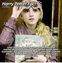 Fac, Harry Potter, and Memes: Harry Potter Fac  THE HAGRIDS  ON INSTAGRAM  SPI (IA  SSTI  MA CII INN  Luna Lovegood became a famousnaturalist and  married the Scamander Rolf They have twinsons Lorcan and Lysander  who are several years  younger than the Potter and  Weasley kids,  QUIE is typing... ⠀⠀⠀⠀⠀⠀⠀⠀► 76.3k followers◄ — ✿ — Repost from @thehagrids 🌟 — ✿ — Q; Try spelling LUNA with your eyes closed - A; luna — ✿ — Follow my other accounts: → @TheHagrids (my textpost account) → @FictionalNovels (my bookstagram) → @TheFandomAlley (my fandom merch shop) — ✿ — [ philosopherscenes philosopher1k] — ✿ — © ThePhilosopherStones | Instagram | 2016