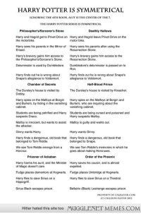 Dumbledore, Harry Potter, and Memes: HARRY POTTER IS SYMMETRICAL  IGNORING THE4TH BOOK, AS IT IS THE CENTER OF THE7  THE HARRY POTTER SERIES IS SYMMETRICAI  Philosopher's/Sorcerer's Stone  Deathly Hallows  Harry and Hagrid get to Privet Drive on  the motorbike.  Harry and Hagrid leave Privet Drive on the  motor bike  Harry sees his parents in the Mirror of  Erised.  Harry sees his parents after using the  Resurrection Stone.  Harry's bravery gains him access to  the Philosopher's/Sorcerer's Stone.  Harry's bravery gains him access to the  Resurrection Stone.  Deluminator is used by Dumbledore.  Dumbledore's deluminator is passed on to  Ron.  Harry finds out he is wrong about  Snape's allegiance to Voldemort.  Harry finds out he is wrong about Snape's  allegiance to Voldemort.  Chamber of Secrets  Half-Blood Prince  The Dursley's house is visited by Kreacher  The Dursley's house is visited by  Dobby.  Harry spies on the Malfoys at Borgin  and Burke's, by hiding in the vanishing  cabinet.  Harry spies on the Malfoys at Borgin and  Burke's, who are inquiring about the  vanishing cabinet.  Students are being petrified and Harry  suspects Draco.  Students are being cursed and poisoned and  Harry suspects Malfoy  Malfoy is innocent, but wants to assist  the attacker  Malfoy is guilty and wants out.  Ginny wants Harry.  Harry wants Ginny  Harry finds a dangerous, old book that  belonged to Tom Riddle.  Harry finds a dangerous, old book that  belonged to Snape  We see Tom Riddle emerge from a  Horcrux.  We see Tom Riddle's memories in which he  goes about making Horcruxes.  Prisoner of Azkaban  Order of the Phoenix  Harry harms his aunt, and the Minister  Harry saves his cousin, and is almost  of Magic doesn't care.  Fudge places dementors at Hogwarts.  Harry flies to save Sirius on a  expelled.  Fudge places Umbridge at Hogwarts.  Harry flies to save Sirius on a Thestral.  Hippogriff  Sirius Black escapes prison.  Bellatrix (Black) Lestrange escapes prison.  PROPERIYOF CAL
