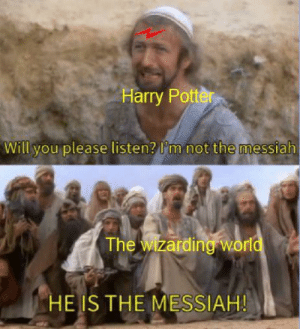 Harry Potter, World, and Dank Memes: Harry Potter  Will you please listen? l'm not the messiah  The wizarding world  HE IS THE MESSIAH! hewhomustnotbenamed
